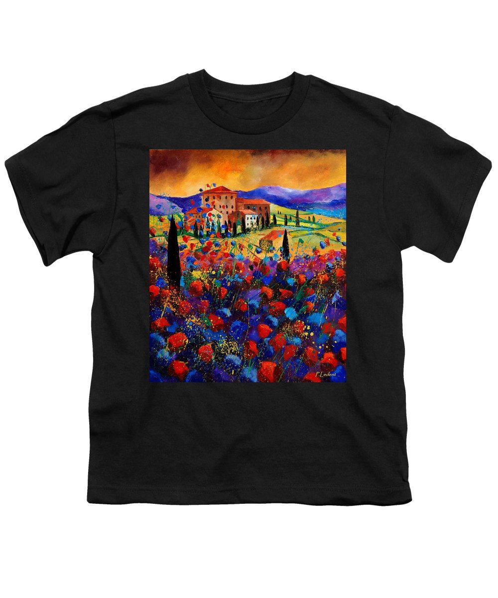 Flowers Youth T-Shirt featuring the painting Tuscany Poppies by Pol Ledent