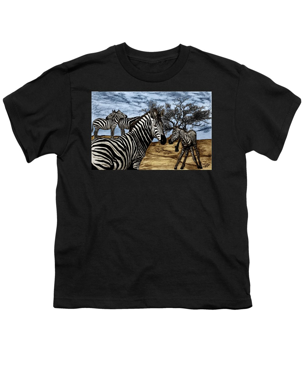 Zebra Outback Youth T-Shirt featuring the drawing Zebra Outback by Peter Piatt