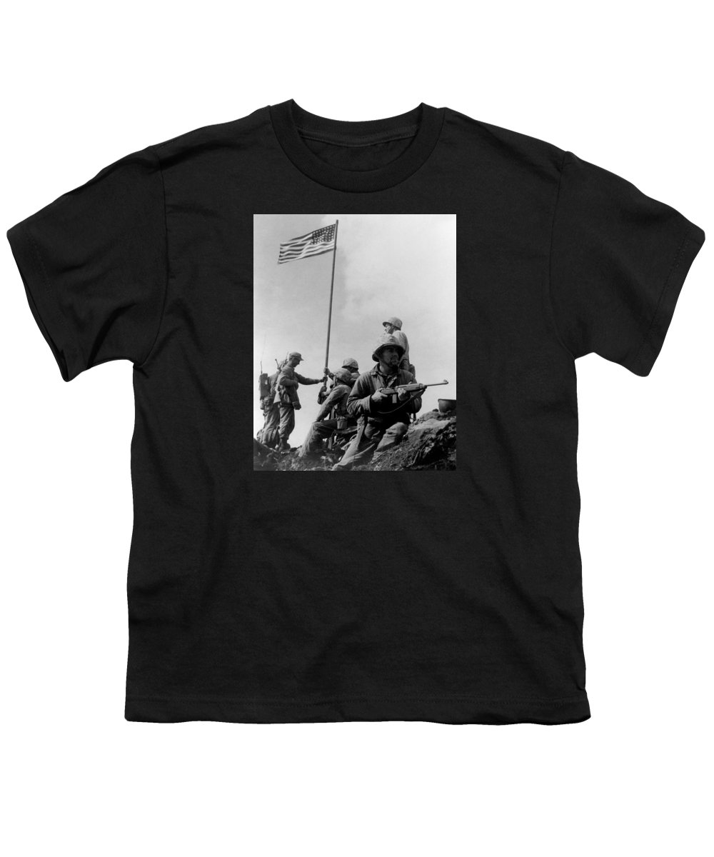 Iwo Jima Youth T-Shirt featuring the photograph 1st Flag Raising On Iwo Jima by War Is Hell Store