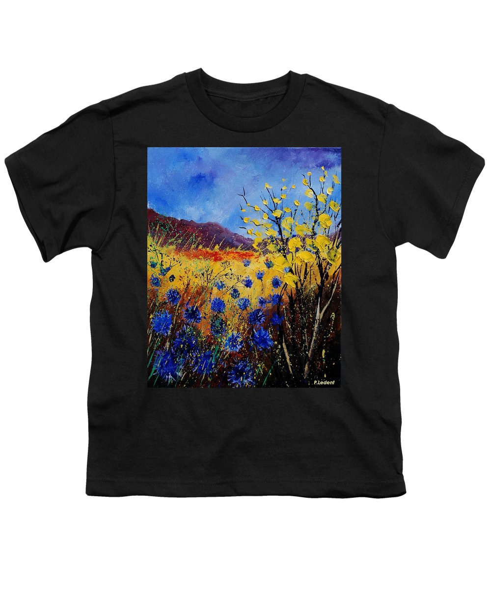 Poppies Flowers Floral Youth T-Shirt featuring the painting Blue Cornflowers by Pol Ledent