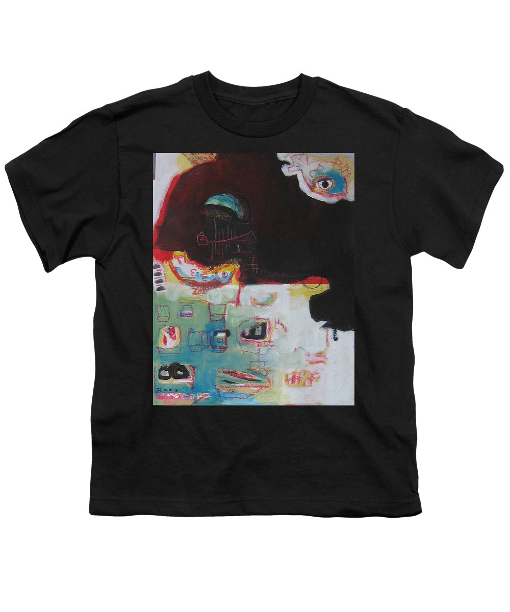 Abstract Paintings Youth T-Shirt featuring the painting Little Bay by Seon-Jeong Kim