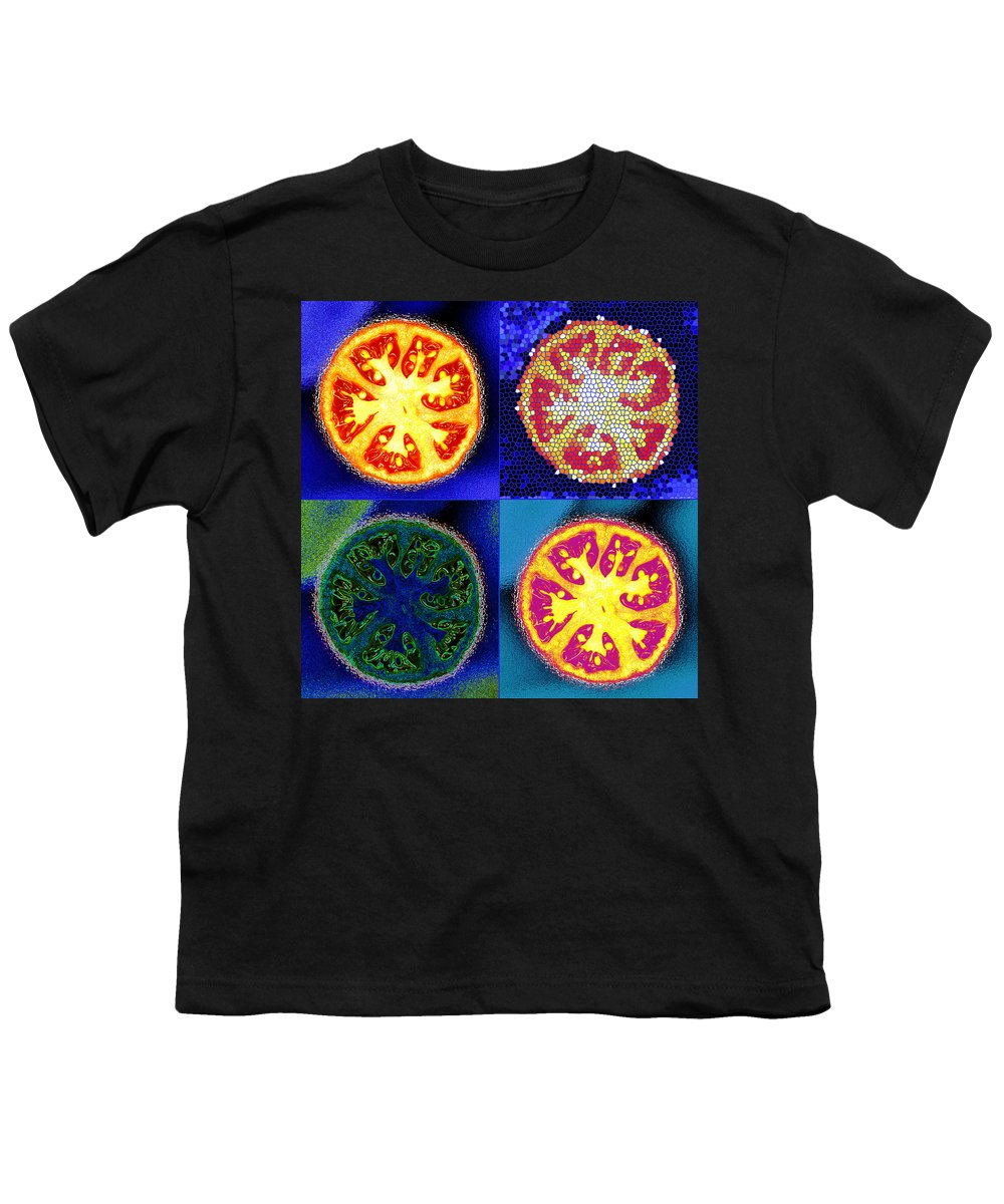 Tomatoes Youth T-Shirt featuring the photograph 4 Abstract Tomatoes by Nancy Mueller
