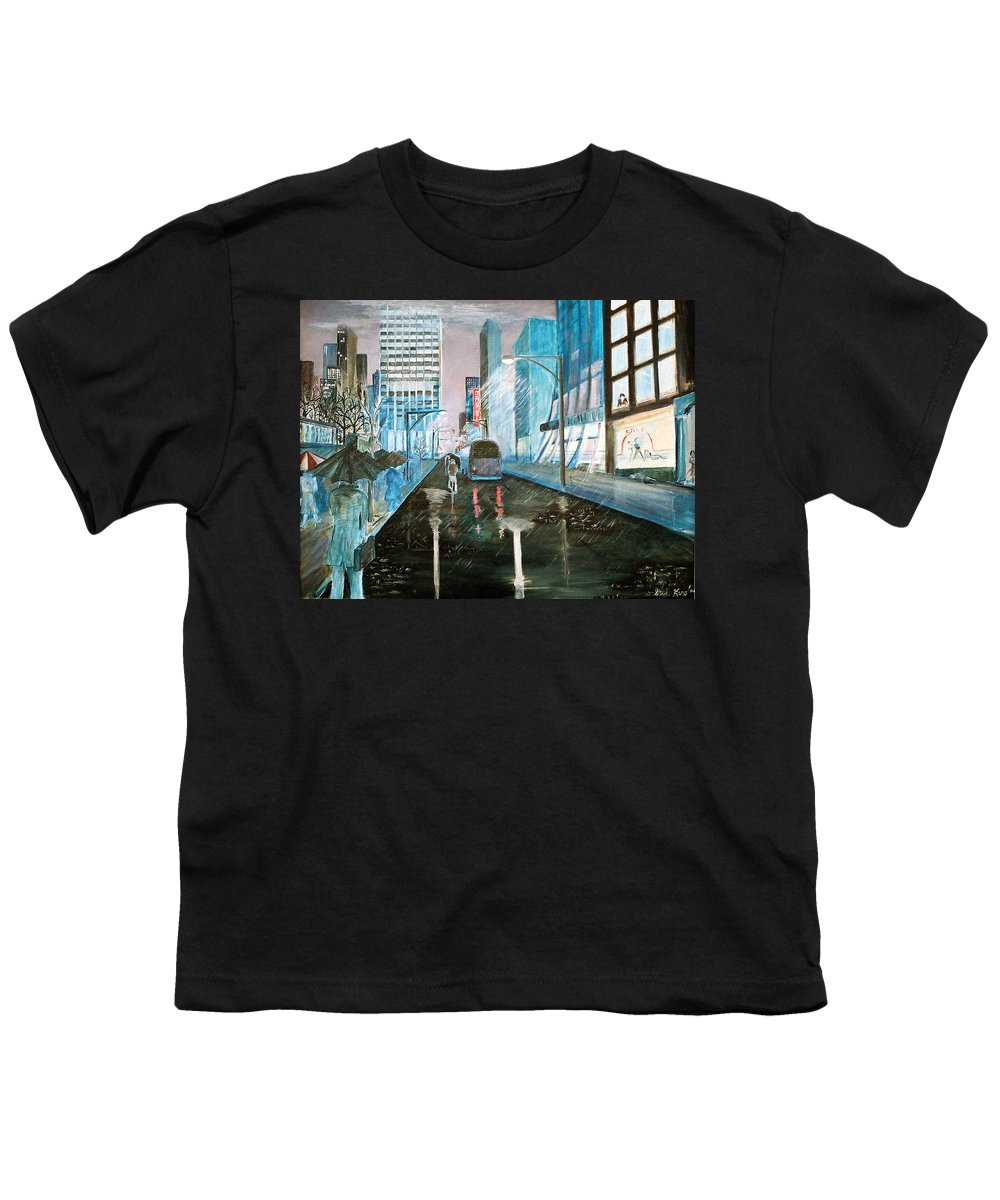 Street Scape Youth T-Shirt featuring the painting 42nd Street Blue by Steve Karol