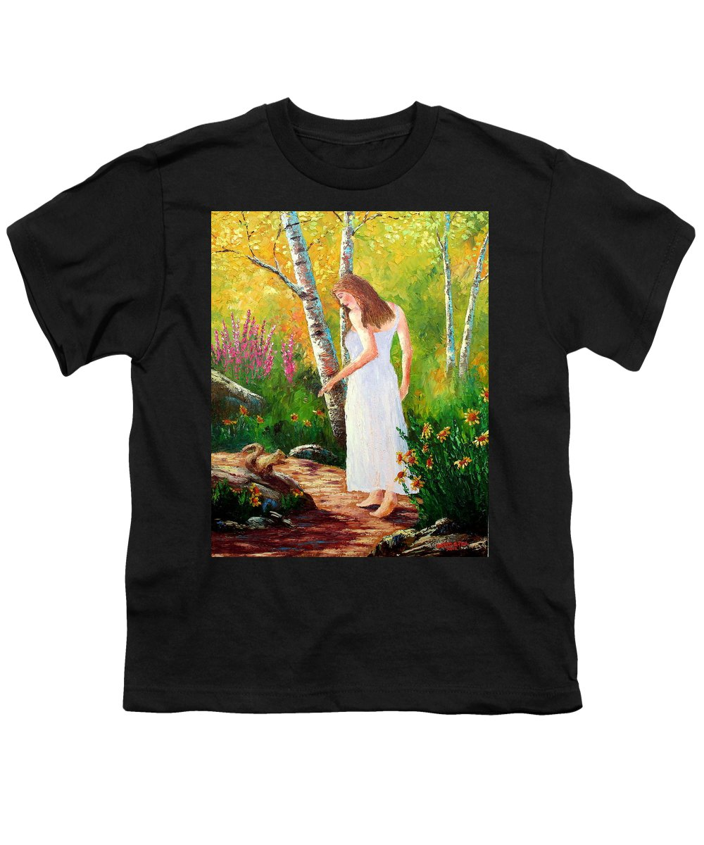 Landscape Youth T-Shirt featuring the painting A Friendly Greeting by David G Paul
