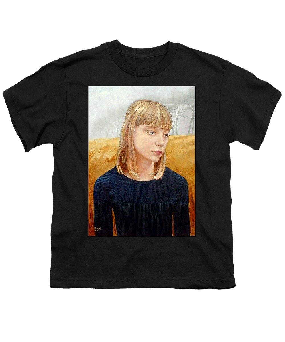 Girl Youth T-Shirt featuring the painting A Gang Of Crows by Jerrold Carton