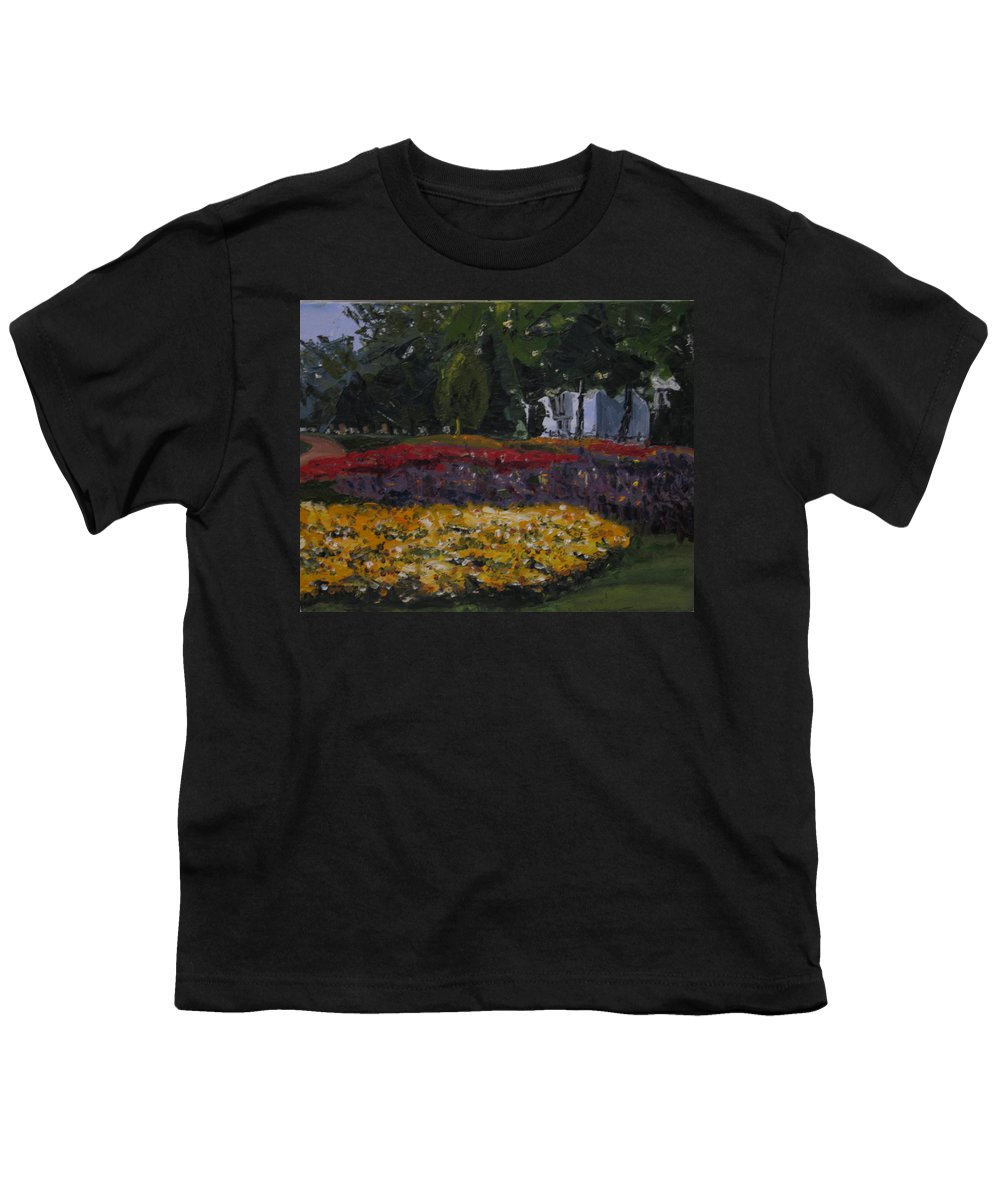 Landscape Youth T-Shirt featuring the painting A Park In Cambrige by Piety Choi