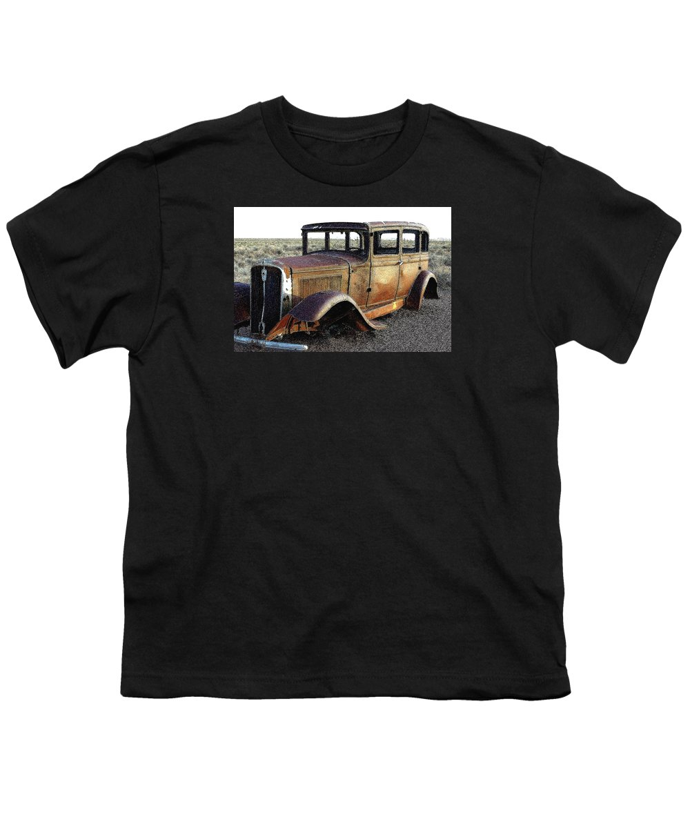 Arizona Youth T-Shirt featuring the photograph Abandonded Along Rt 66 by Nelson Strong