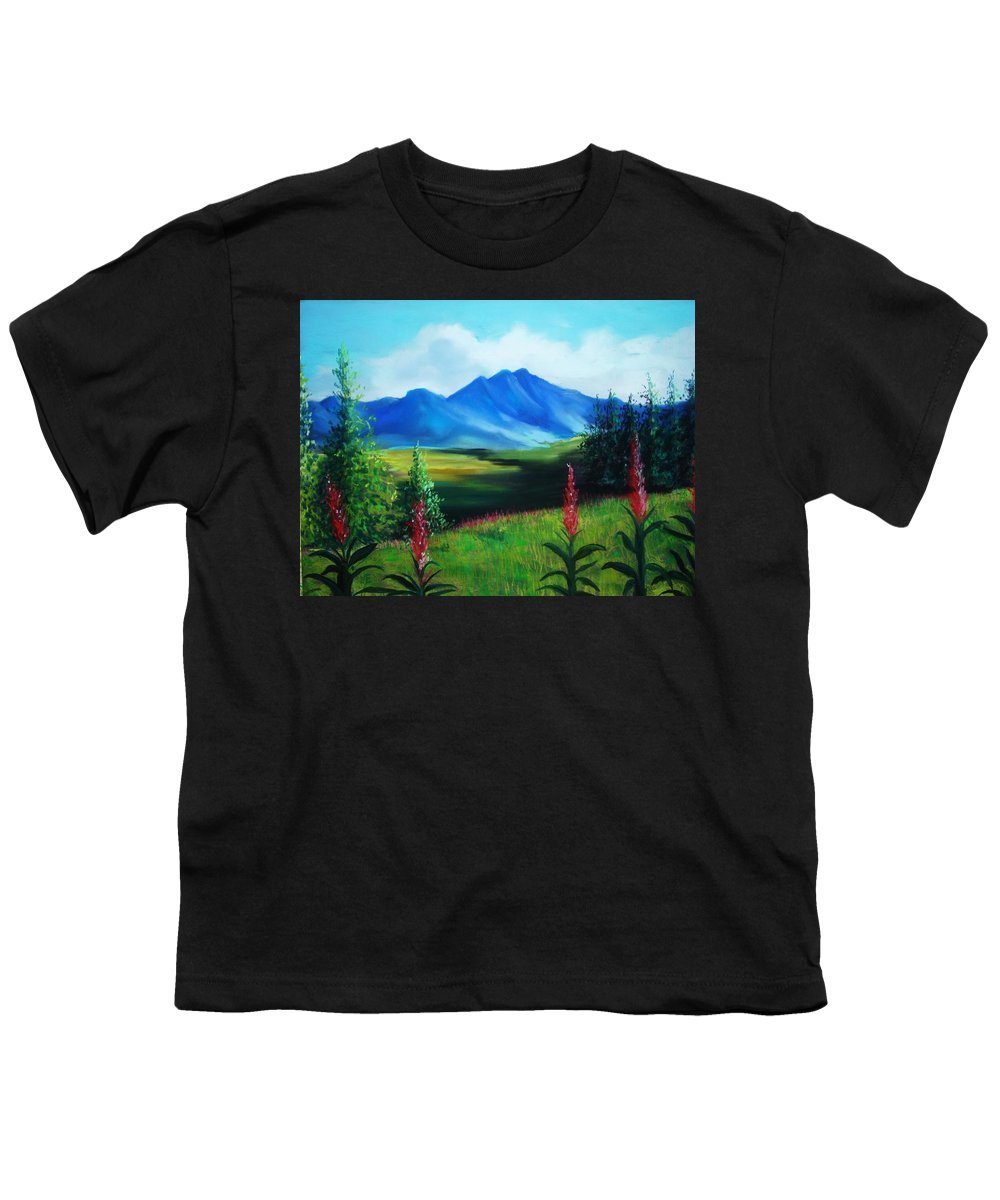 Alaska Youth T-Shirt featuring the pastel Alaska by Melinda Etzold