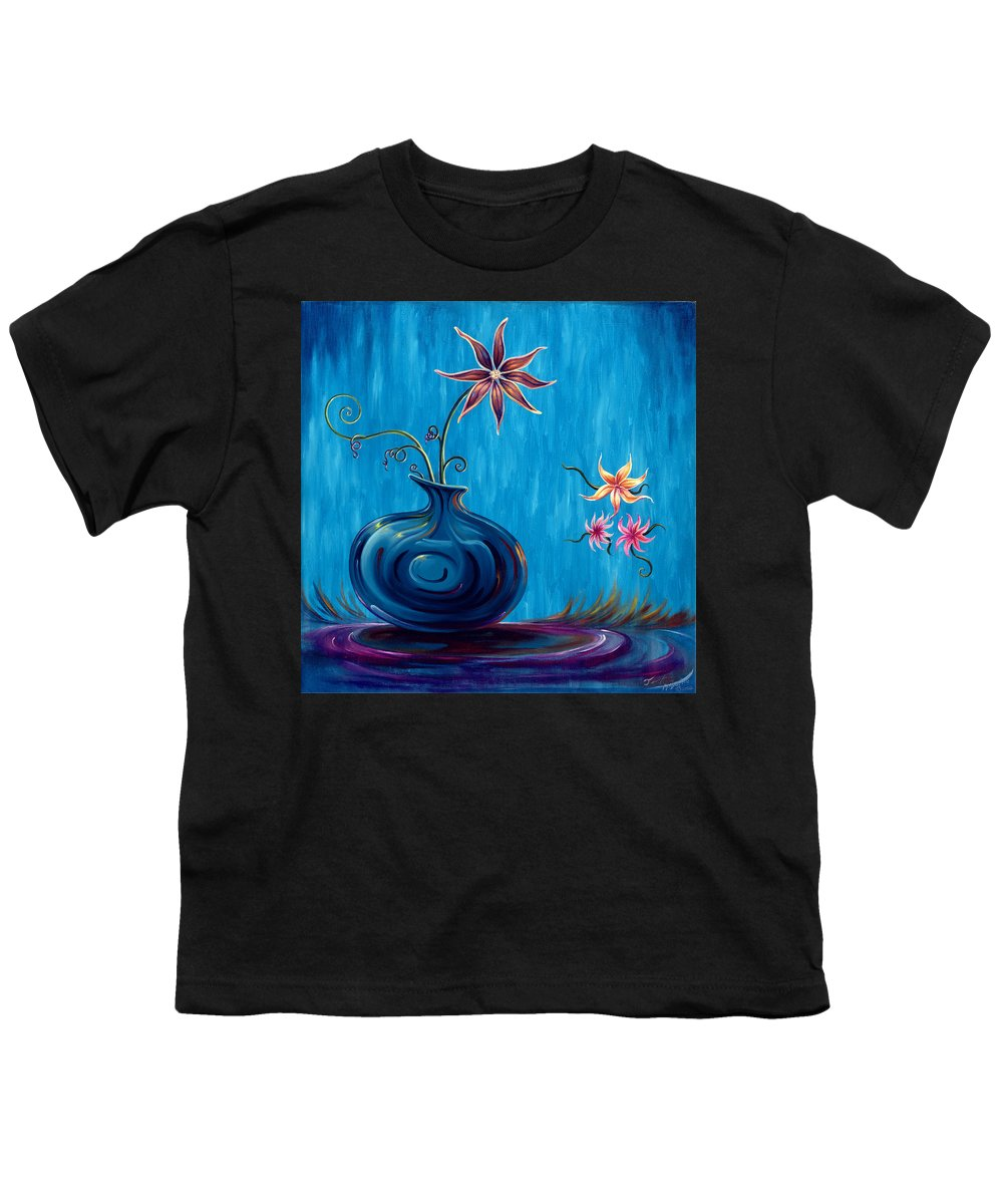 Fantasy Floral Scape Youth T-Shirt featuring the painting Aloha Rain by Jennifer McDuffie