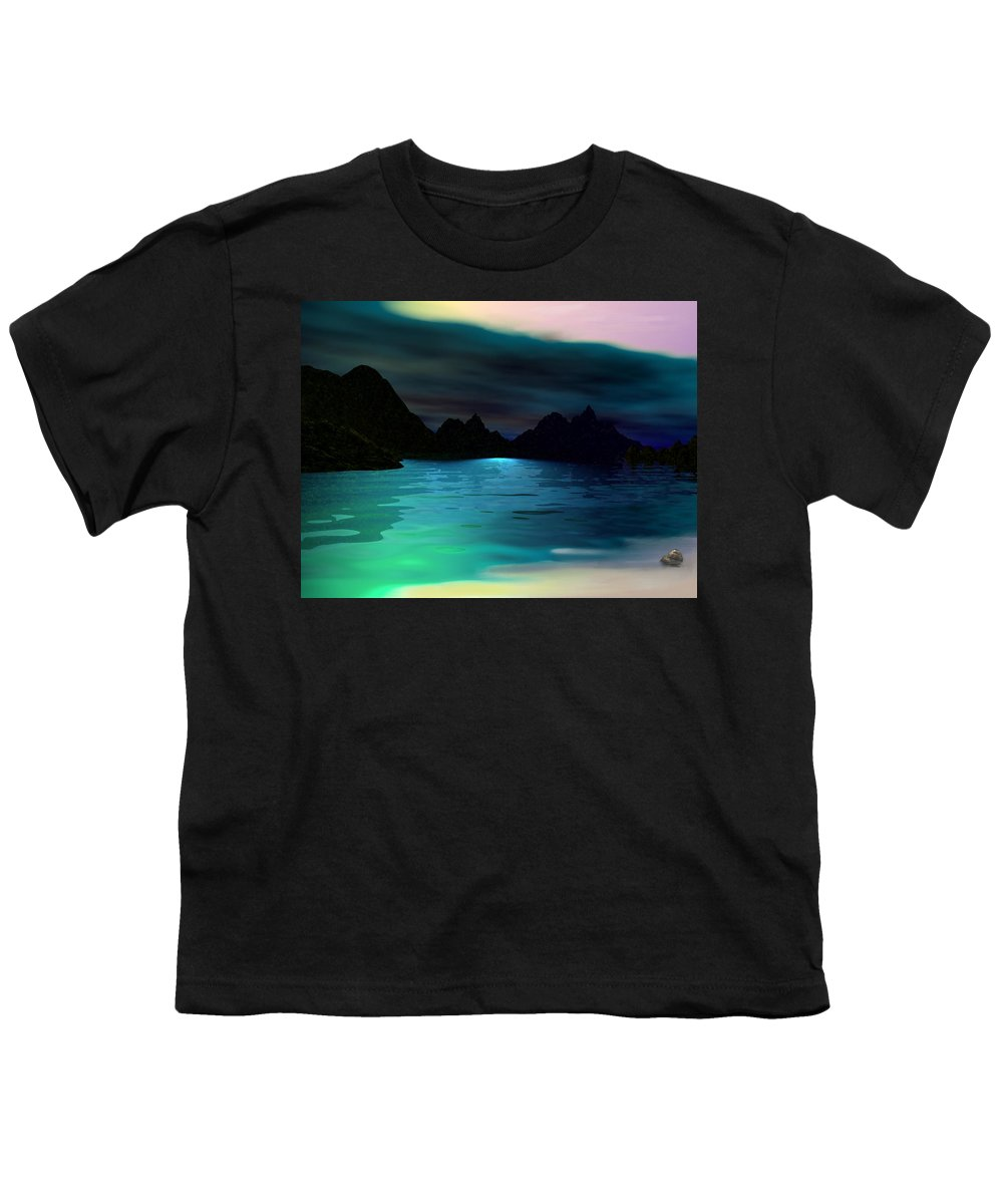 Seascape Youth T-Shirt featuring the digital art Alone On The Beach by David Lane