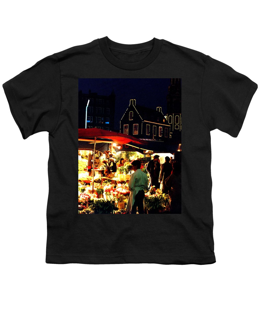 Flowers Youth T-Shirt featuring the photograph Amsterdam Flower Market by Nancy Mueller