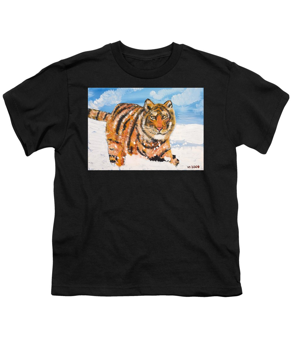Cat Youth T-Shirt featuring the painting Amur Tiger by Valerie Ornstein