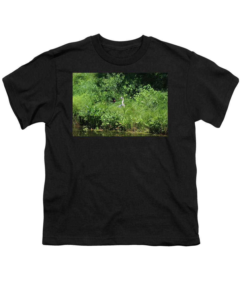 Marsh Youth T-Shirt featuring the photograph Annoyed - Heron and Red Winged Blackbird 5 of 10 by Colleen Cornelius