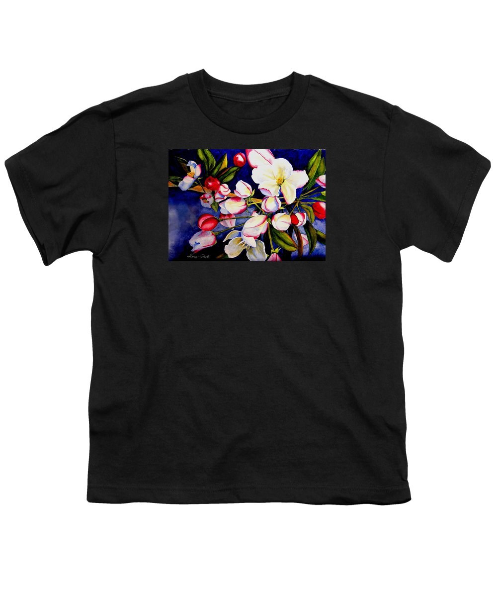 Apple Blossoms Youth T-Shirt featuring the painting Apple Blossom Time by Karen Stark