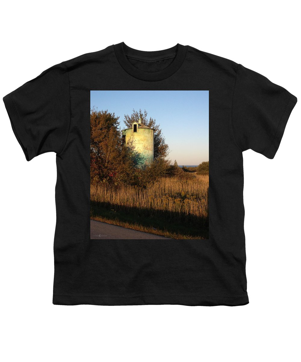 Silo Youth T-Shirt featuring the photograph Aqua Silo by Tim Nyberg