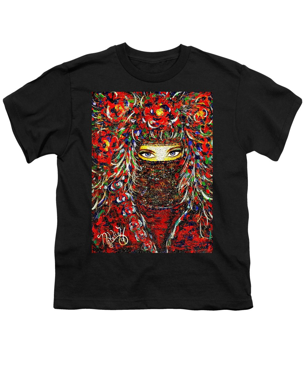 Woman Youth T-Shirt featuring the painting Arabian Eyes by Natalie Holland