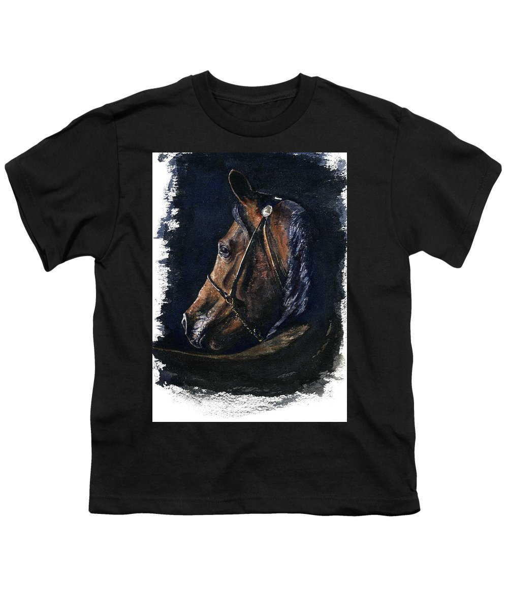 Horse Youth T-Shirt featuring the painting Arabian by John D Benson