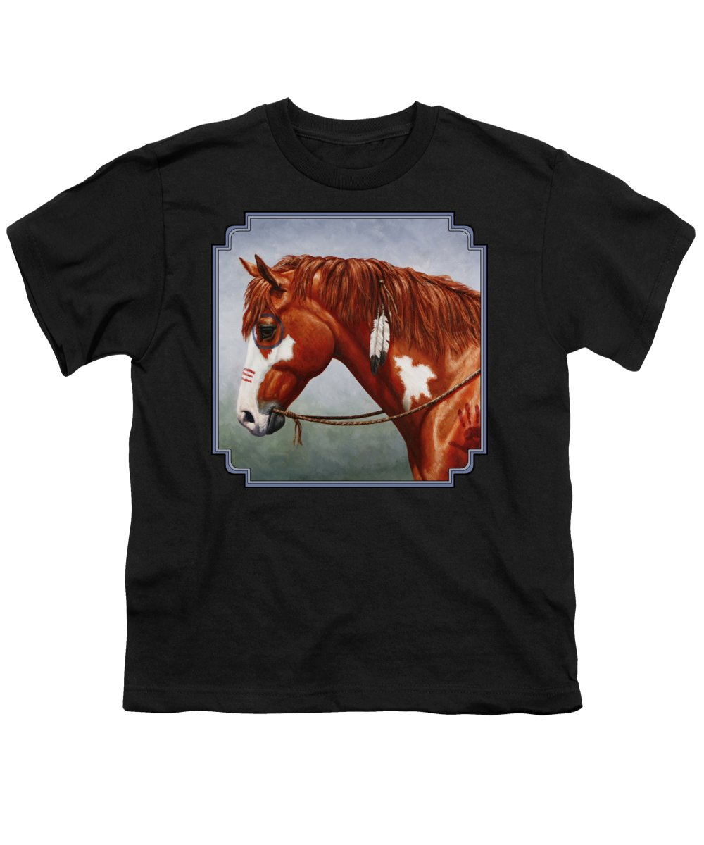 Horse Youth T-Shirt featuring the painting Native American War Horse by Crista Forest