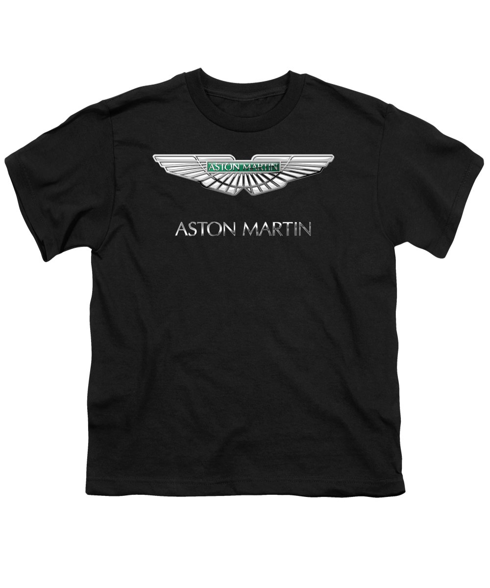 'wheels Of Fortune� Collection By Serge Averbukh Youth T-Shirt featuring the photograph Aston Martin 3 D Badge On Black by Serge Averbukh