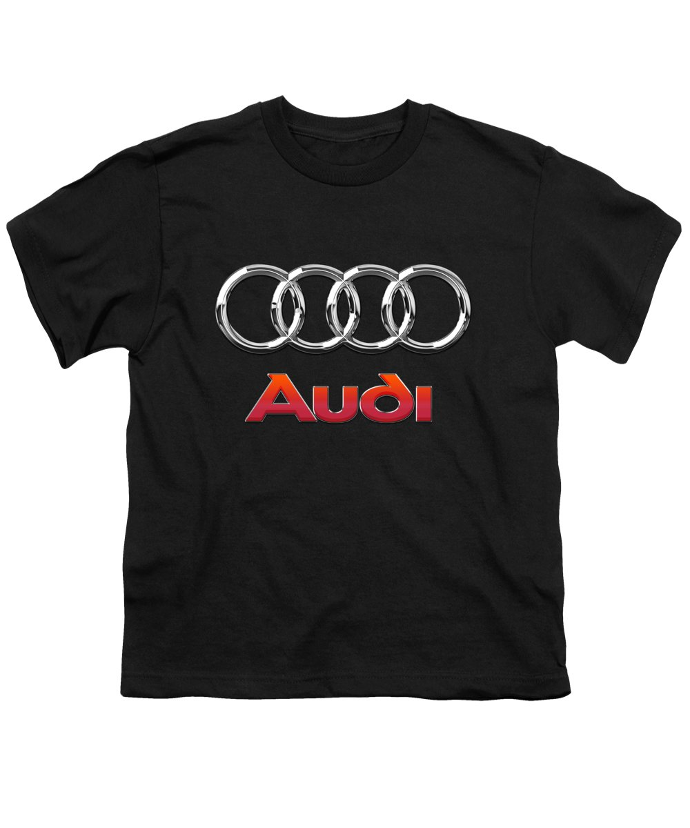 'wheels Of Fortune' Collection By Serge Averbukh Youth T-Shirt featuring the photograph Audi 3 D Badge On Black by Serge Averbukh
