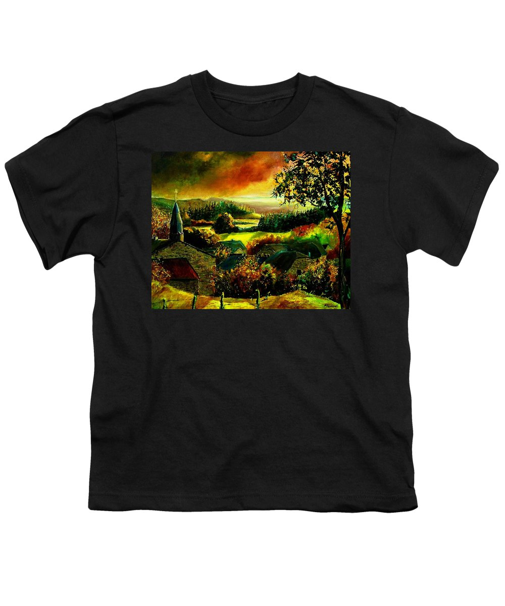 Landscape Youth T-Shirt featuring the painting Autumn In Our Village Ardennes by Pol Ledent