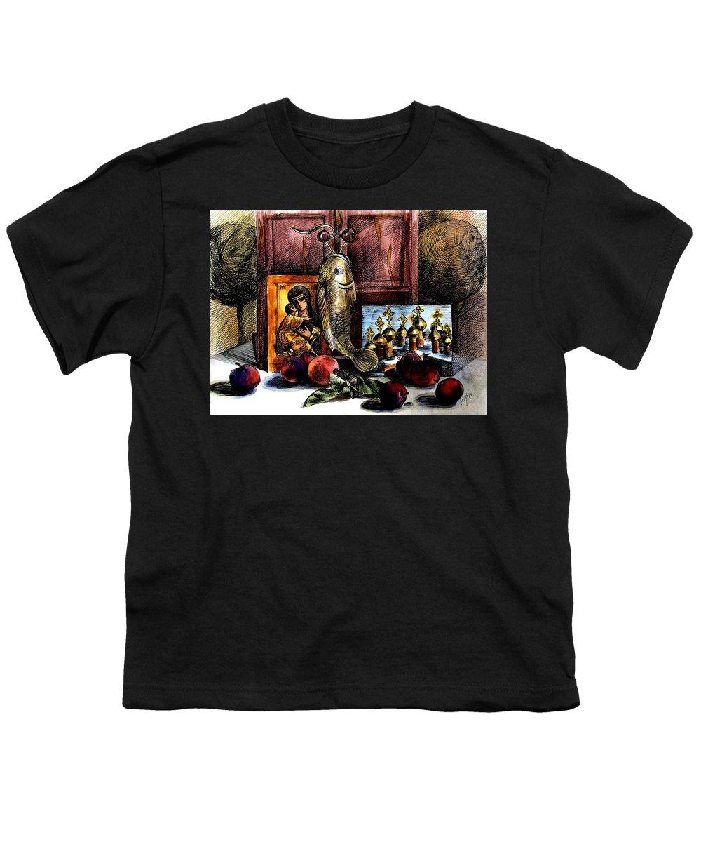 Madonna Youth T-Shirt featuring the painting Autumn Prayer by Inga Vereshchagina