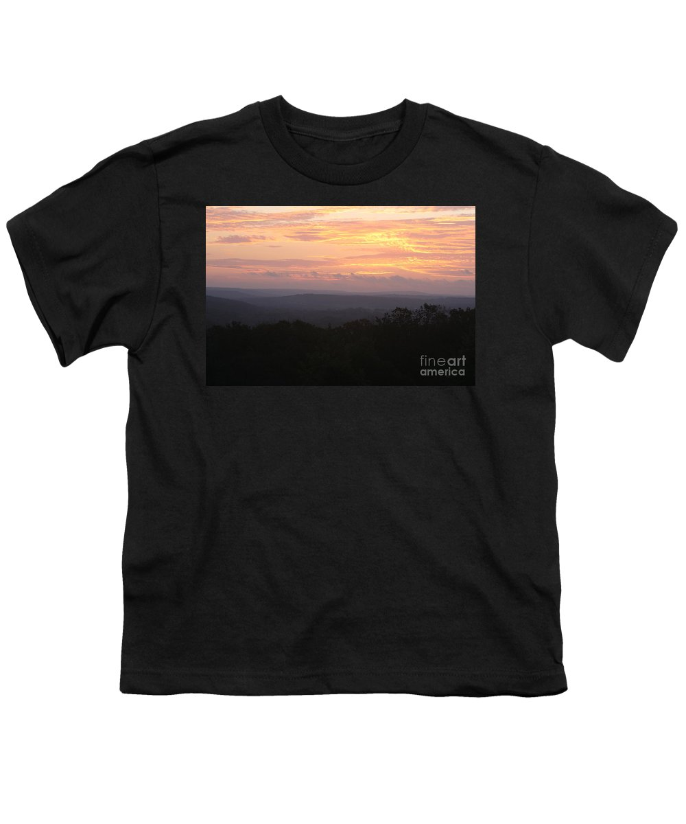 Sunrise Youth T-Shirt featuring the photograph Autumn Sunrise Over The Ozarks by Nadine Rippelmeyer