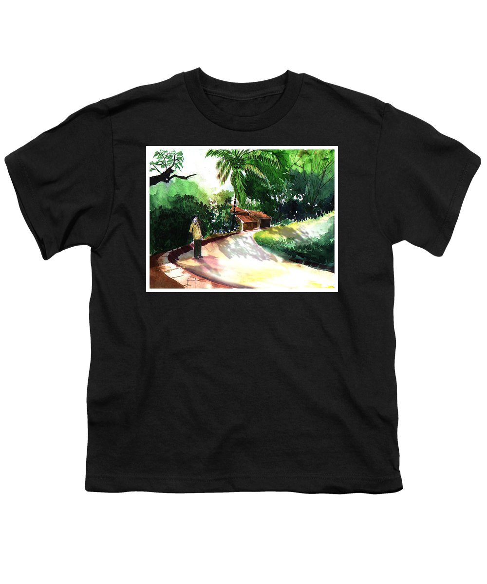 Water Color Watercolor Landscape Greenery Youth T-Shirt featuring the painting Awe by Anil Nene