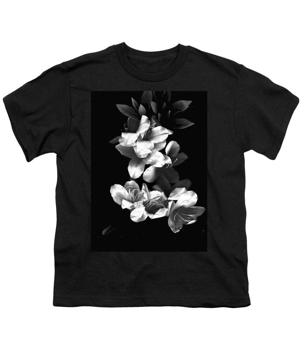 Azaela Youth T-Shirt featuring the photograph Azaela Blossom In Black And White by Wayne Potrafka