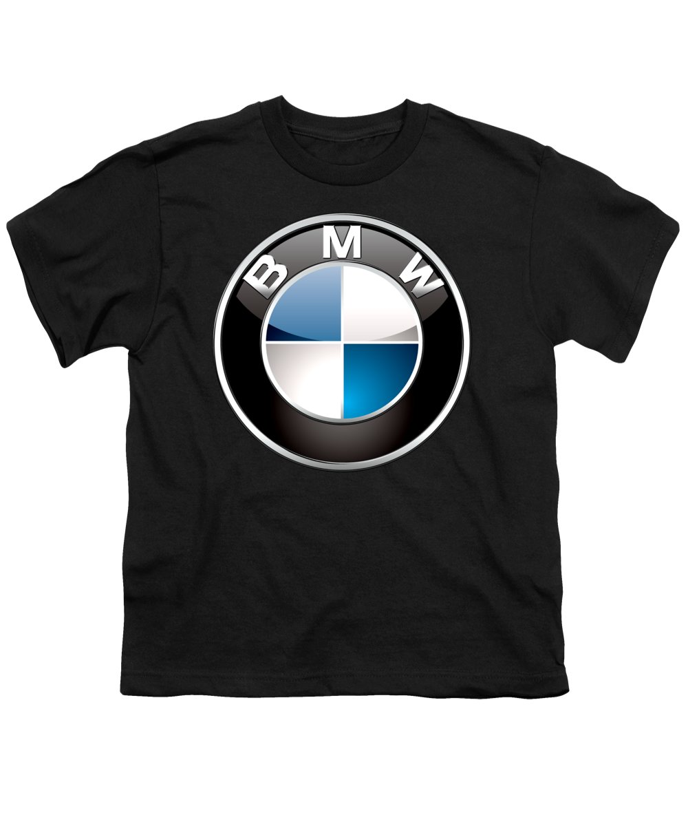 �wheels Of Fortune� Collection By Serge Averbukh Youth T-Shirt featuring the photograph B M W 3 D Badge On Black by Serge Averbukh
