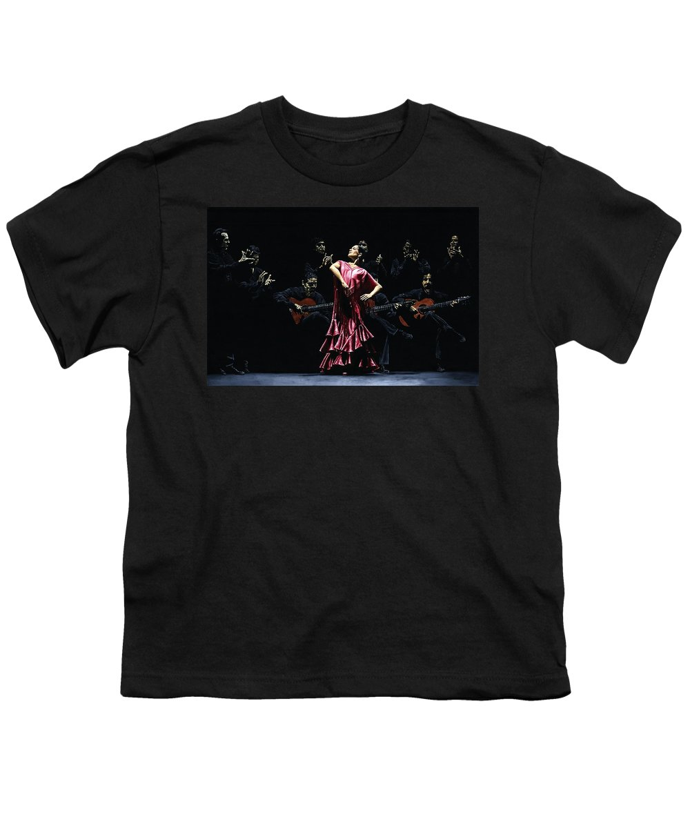 Flamenco Youth T-Shirt featuring the painting Bailarina Orgullosa Del Flamenco by Richard Young