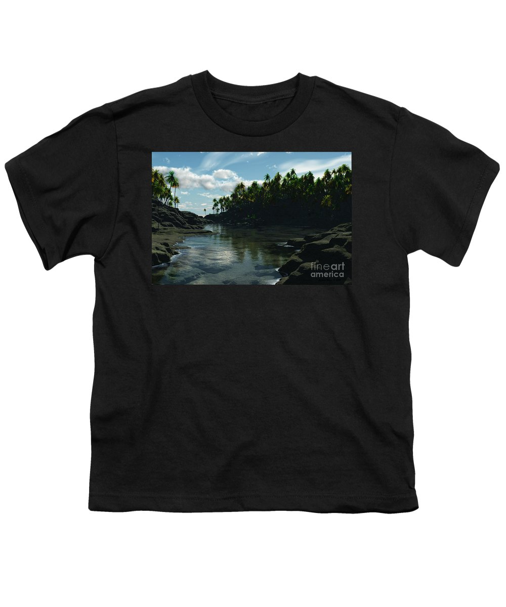 Rivers Youth T-Shirt featuring the digital art Banana River by Richard Rizzo