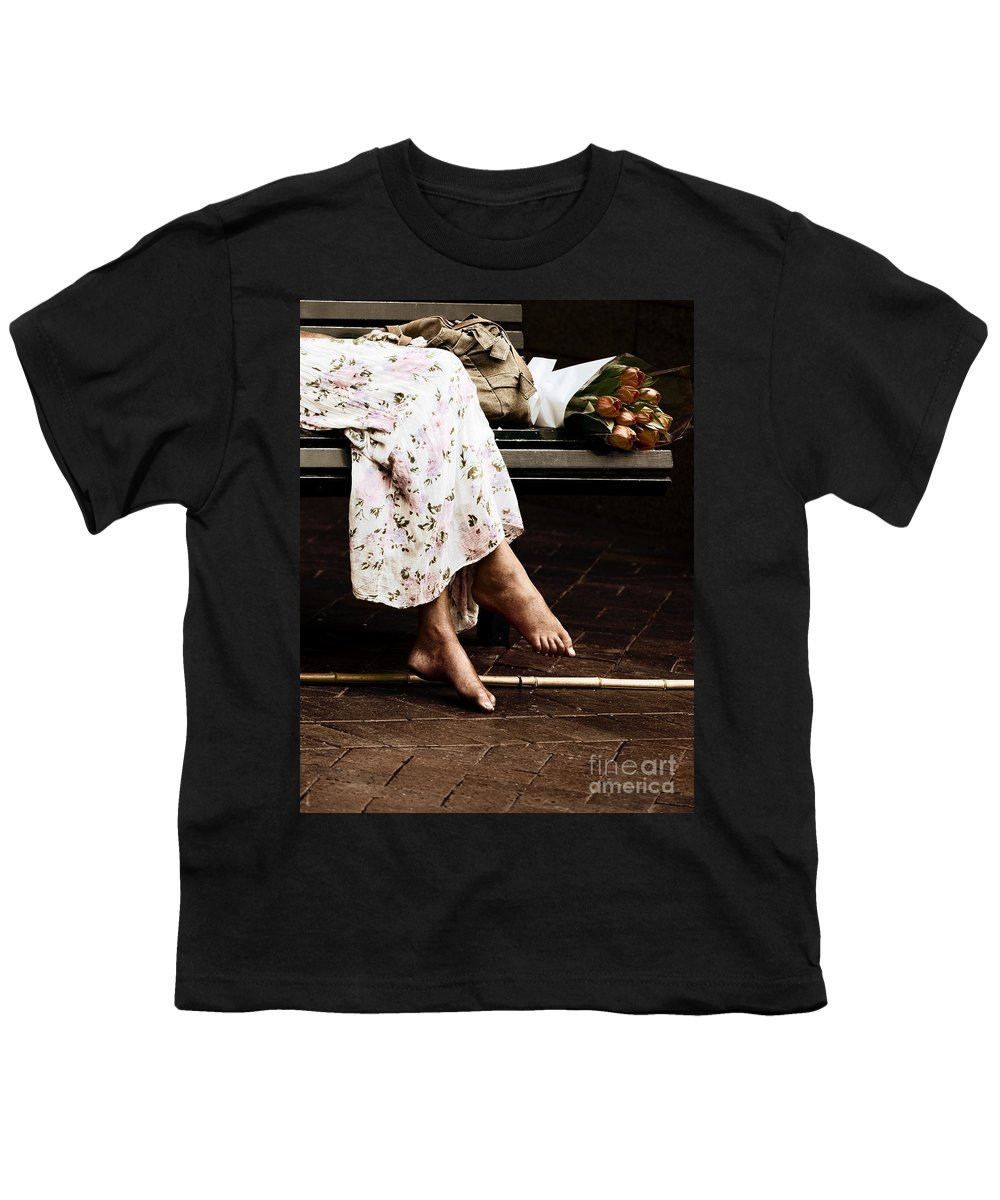Barefeet Feet Barefoot Tulips Youth T-Shirt featuring the photograph Barefoot And Tulips by Avalon Fine Art Photography