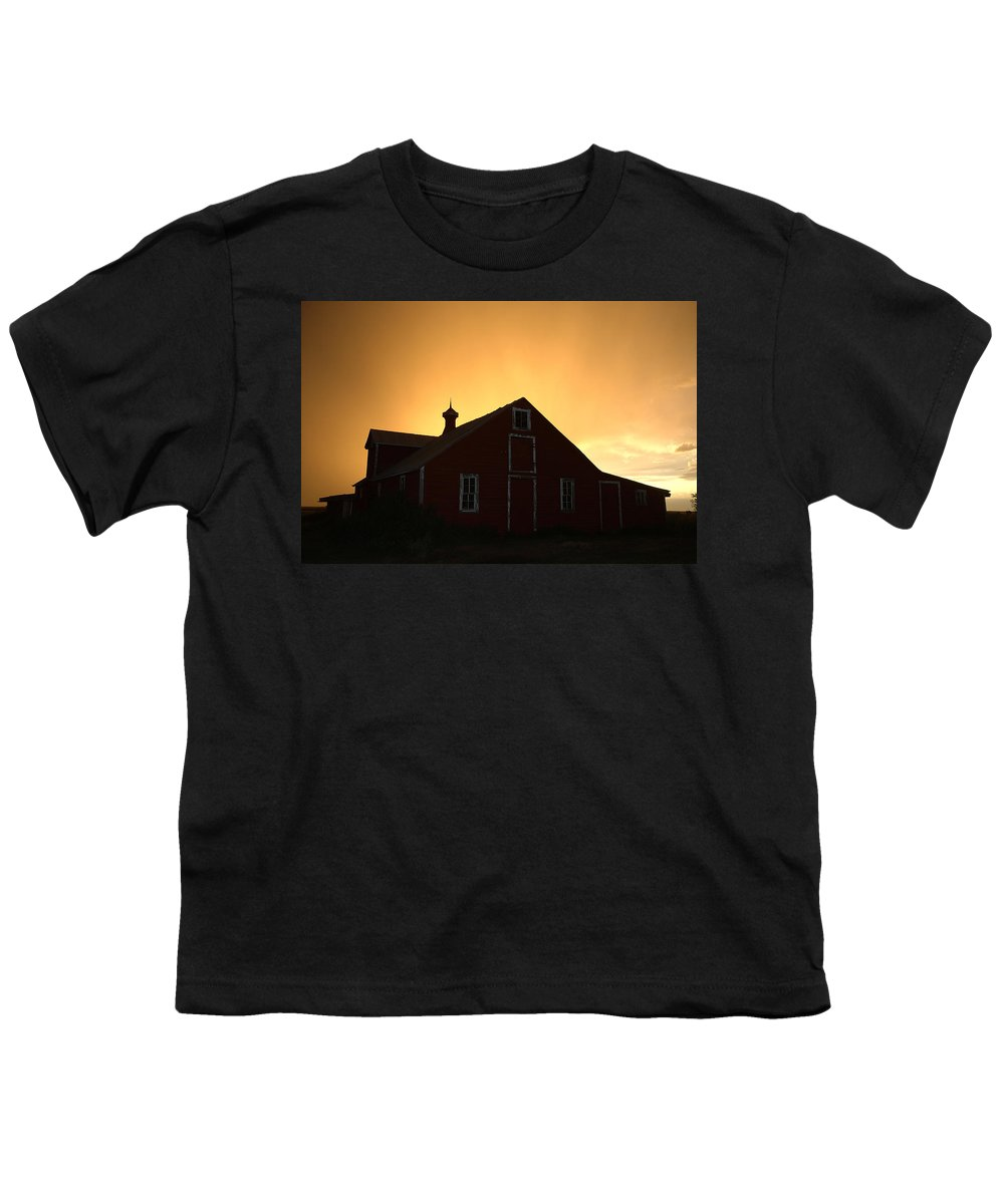 Barn Youth T-Shirt featuring the photograph Barn At Sunset by Jerry McElroy