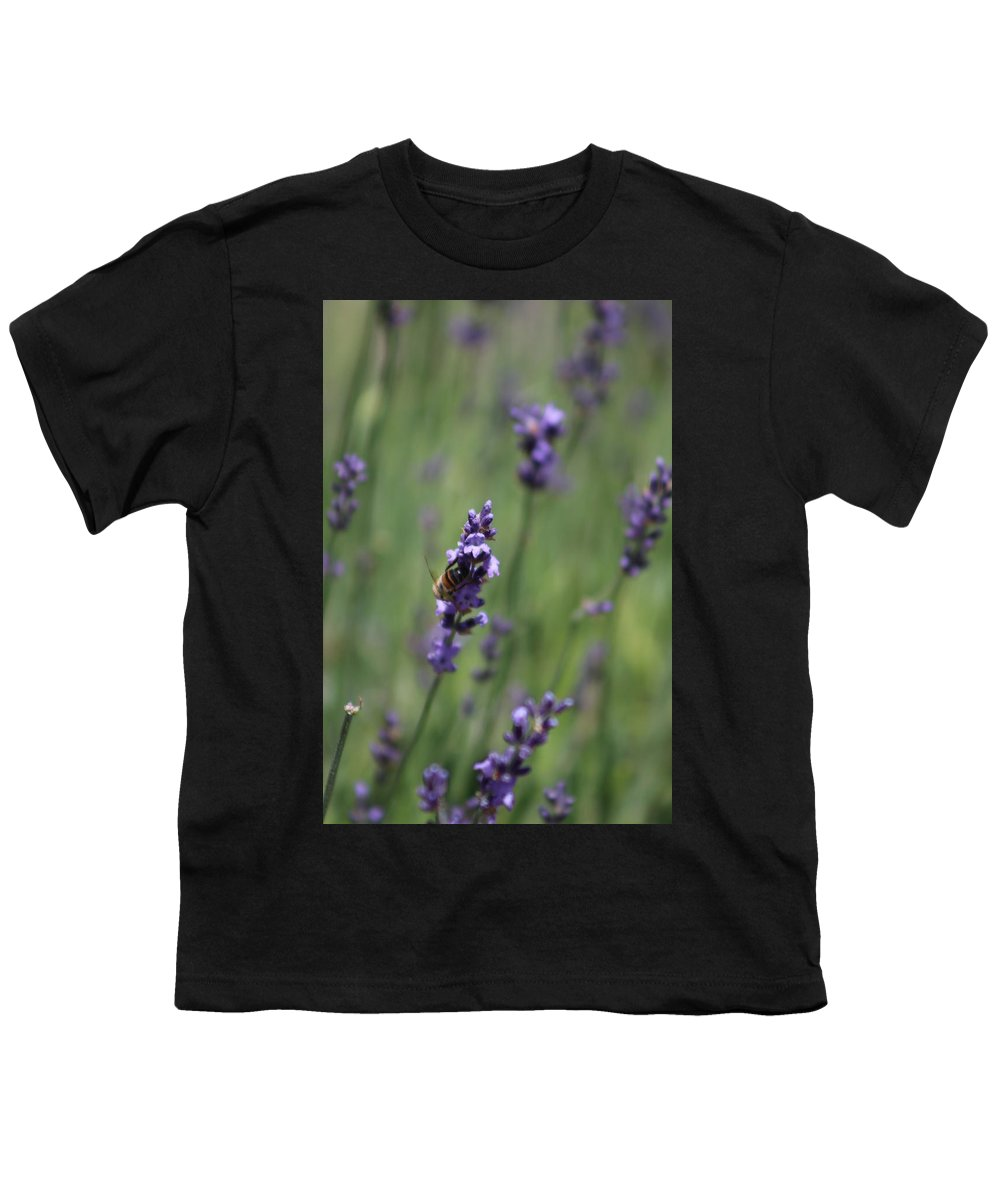 Deep Purple Lavender Youth T-Shirt featuring the photograph Bee on Deep Purple Lavender Spike by Colleen Cornelius