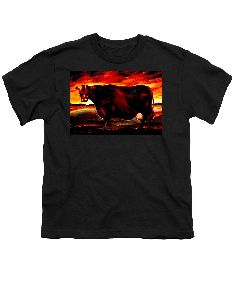 Farm Animal Youth T-Shirt featuring the painting Beef Holocaust IIi by Mark Cawood