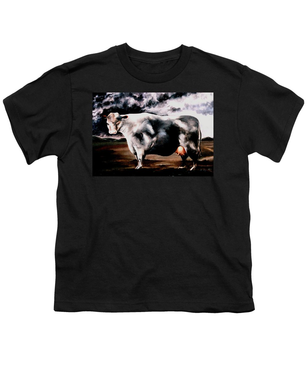 Cow Youth T-Shirt featuring the painting Beef Holocaust Iv by Mark Cawood