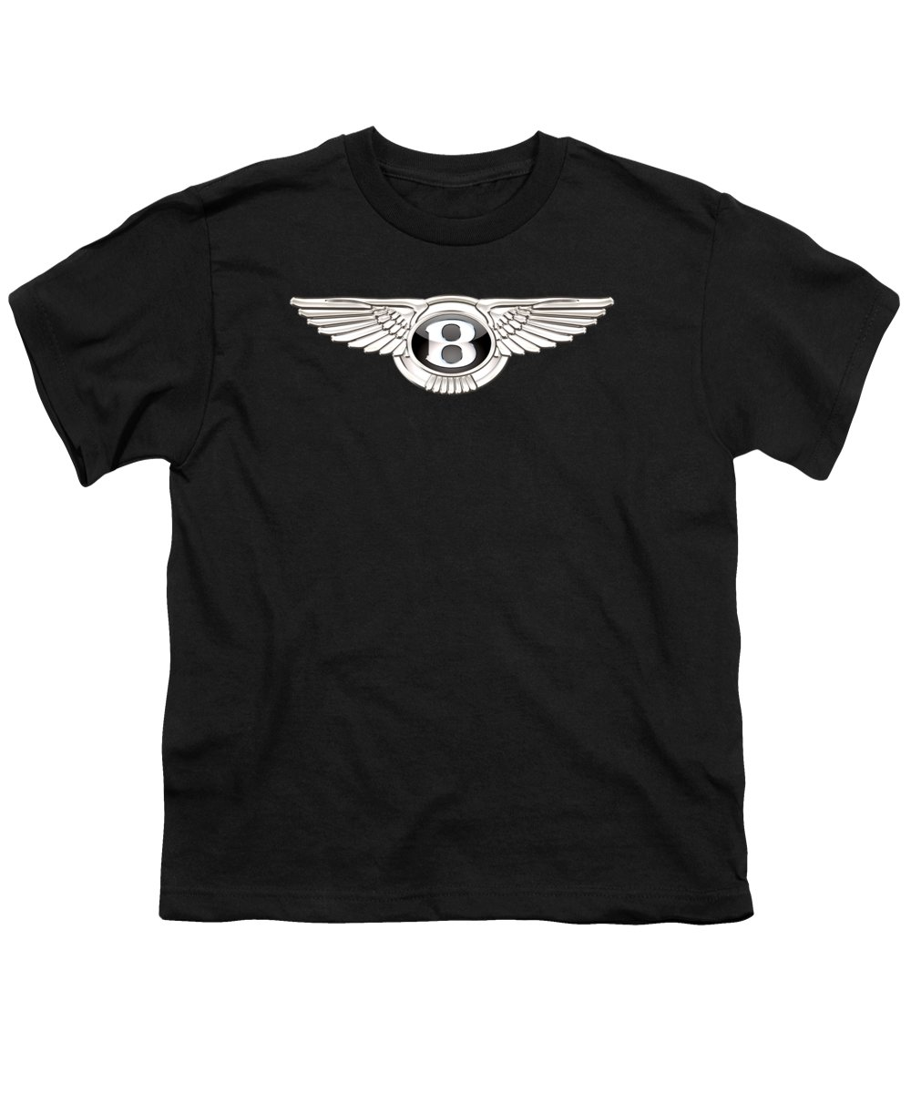 'wheels Of Fortune' By Serge Averbukh Youth T-Shirt featuring the photograph Bentley - 3 D Badge On Black by Serge Averbukh