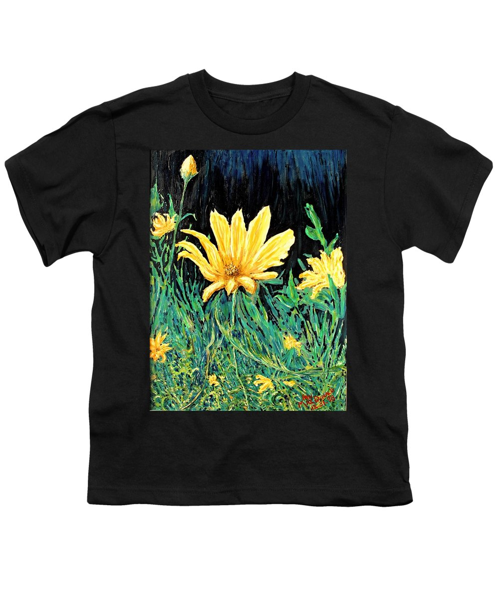 Flower Youth T-Shirt featuring the painting Big Yellow by Ian MacDonald