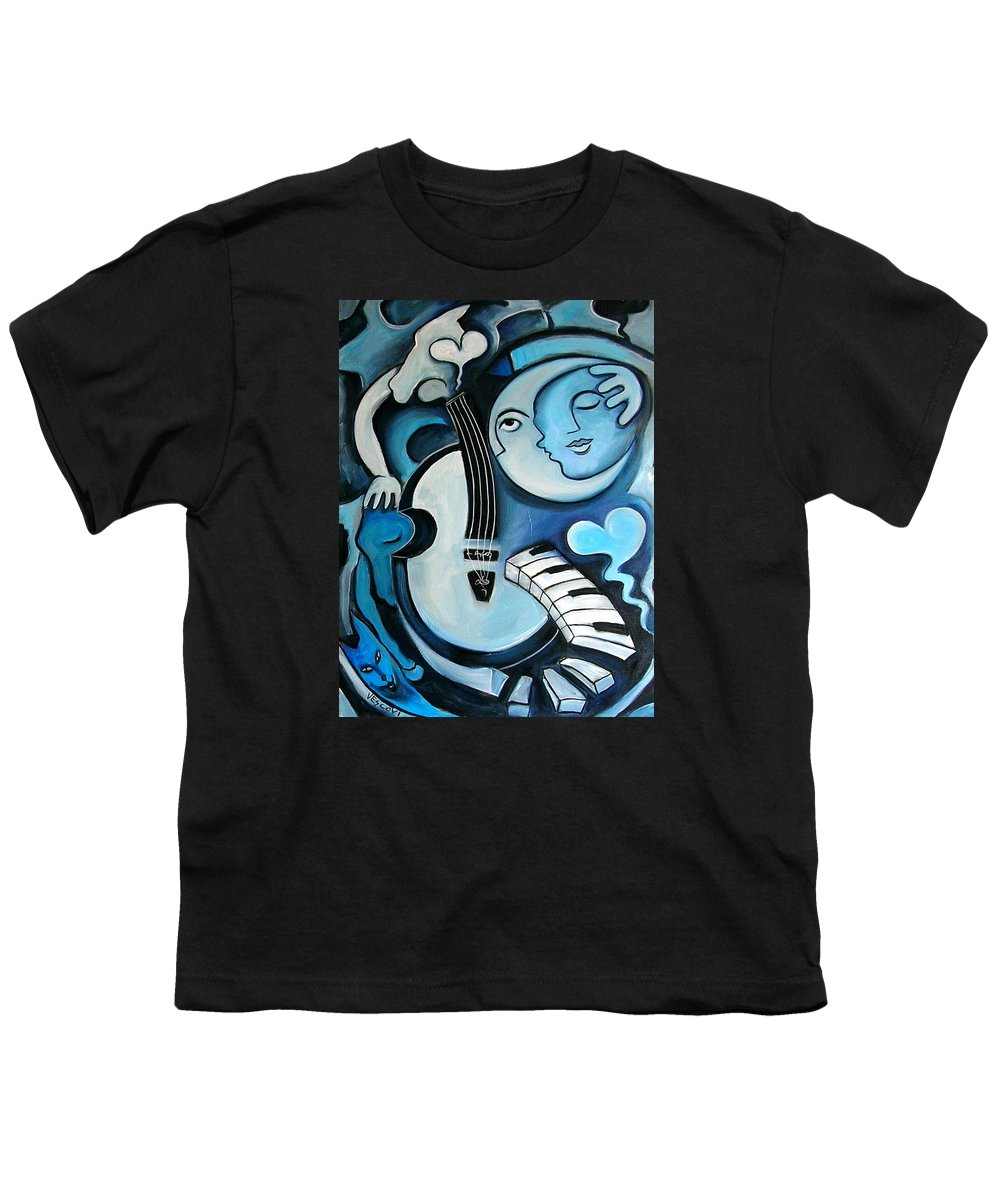 Abstract Youth T-Shirt featuring the painting Black And Bleu by Valerie Vescovi
