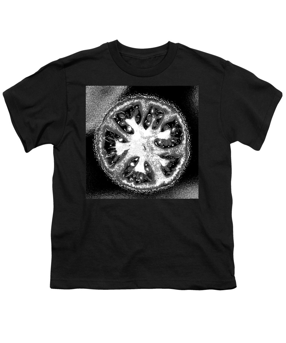 Tomato Youth T-Shirt featuring the photograph Black And White Tomato by Nancy Mueller