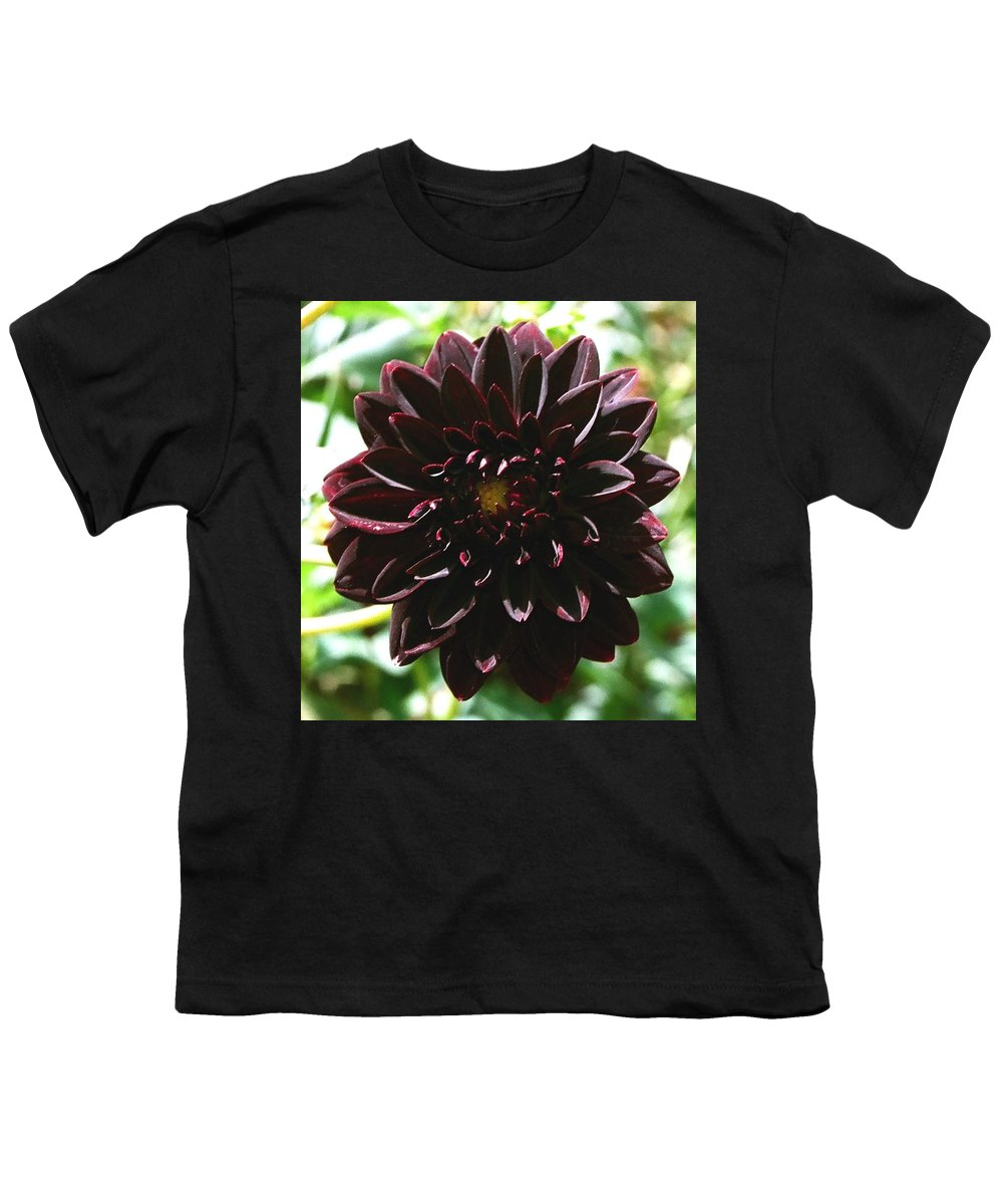 Flower Youth T-Shirt featuring the photograph Black Dalia by Dean Triolo