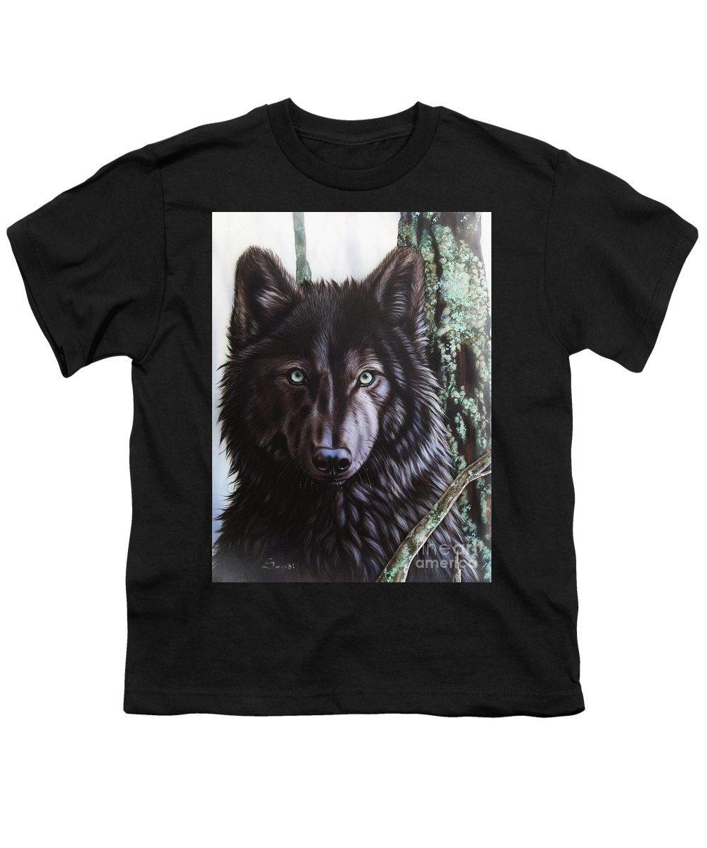 Wolves Youth T-Shirt featuring the painting Black Wolf by Sandi Baker