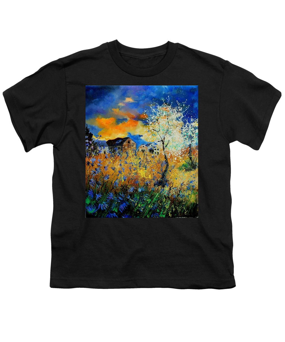 Poppies Youth T-Shirt featuring the painting Blooming Trees by Pol Ledent