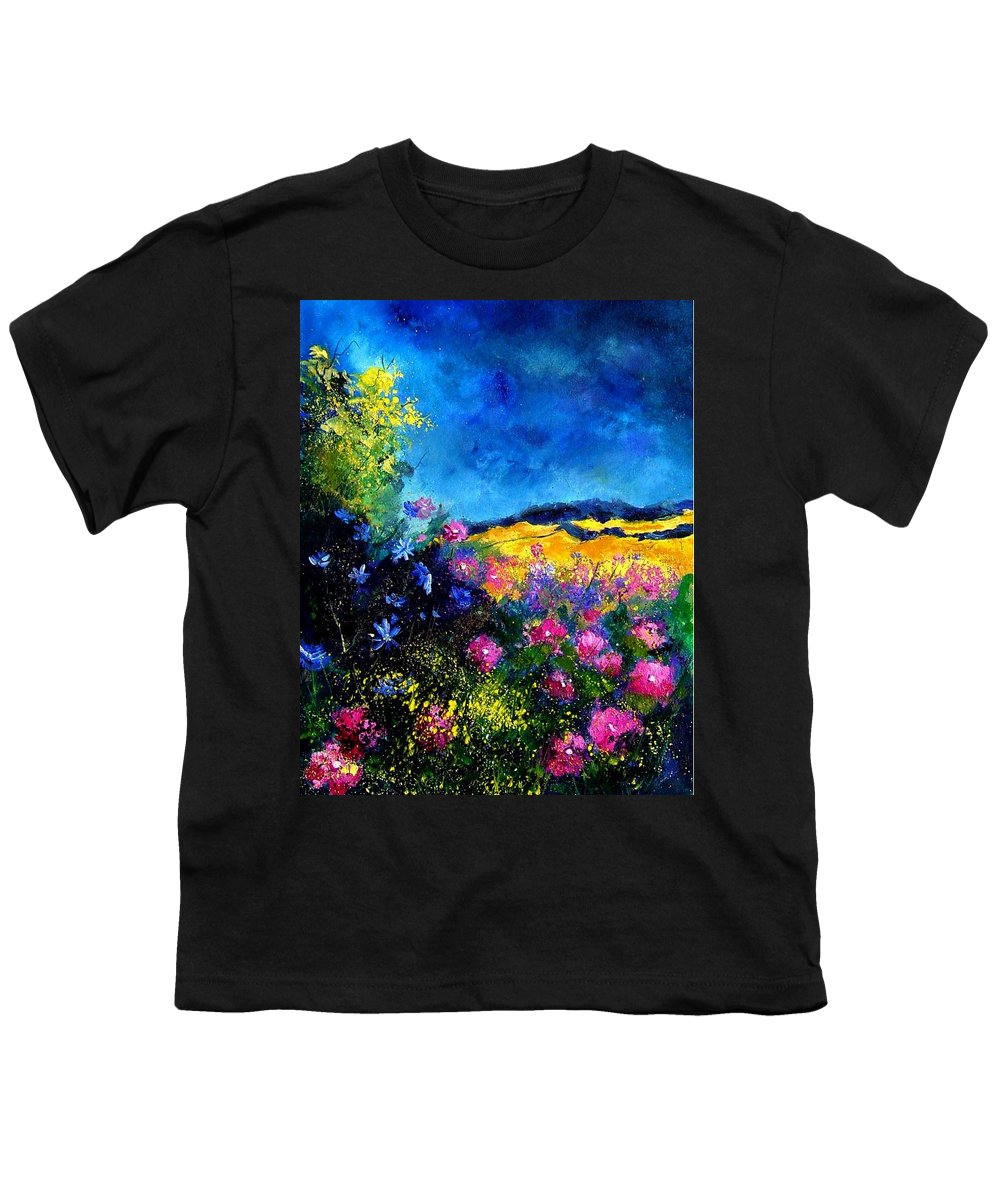 Landscape Youth T-Shirt featuring the painting Blue And Pink Flowers by Pol Ledent