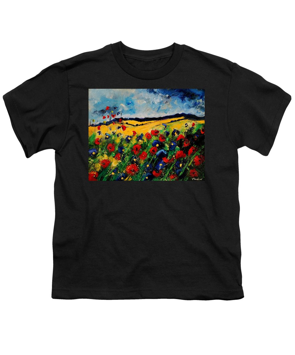Poppies Youth T-Shirt featuring the painting Blue And Red Poppies 45 by Pol Ledent