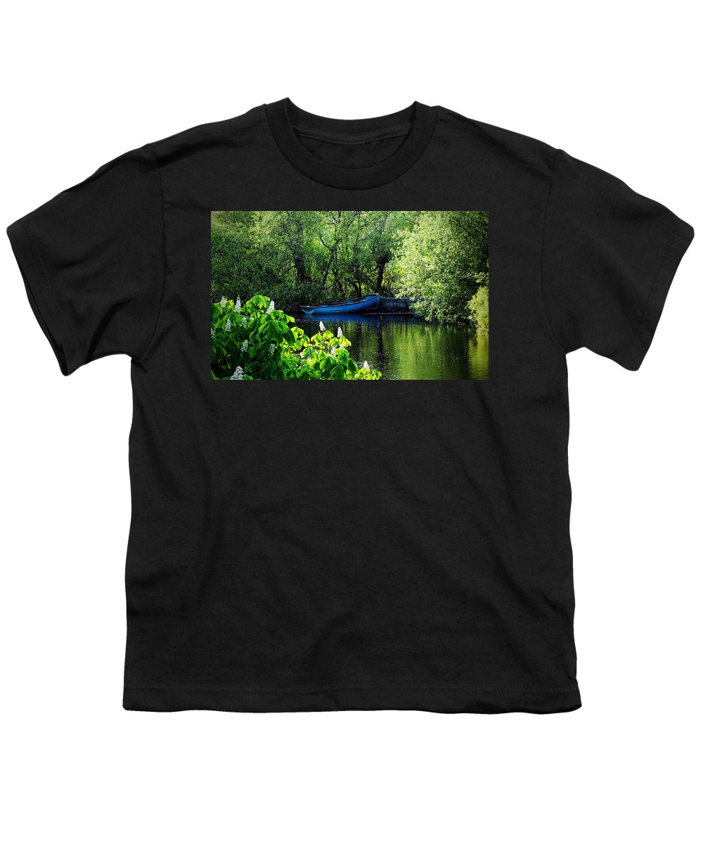 Irish Youth T-Shirt featuring the photograph Blue Boat Cong Ireland by Teresa Mucha