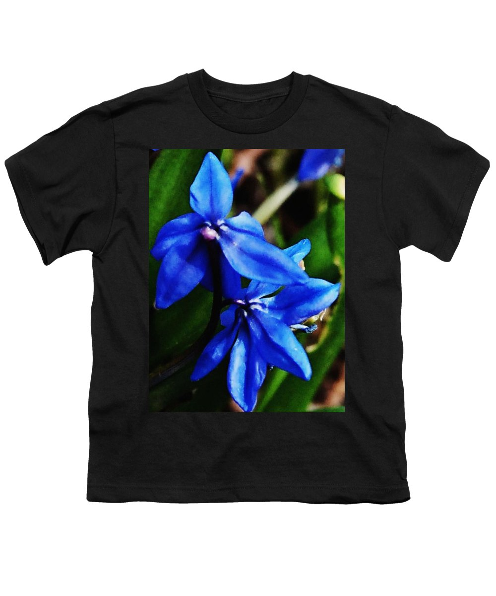 Digital Photo Youth T-Shirt featuring the photograph Blue Floral by David Lane
