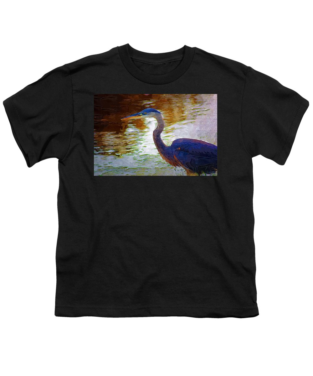 Blue Heron Youth T-Shirt featuring the photograph Blue Heron 2 by Donna Bentley