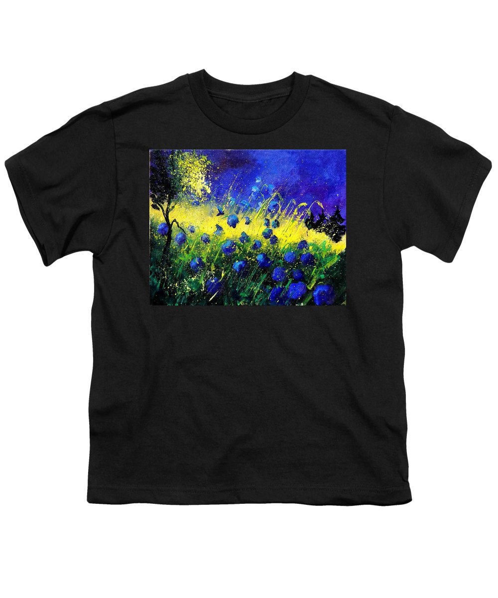 Flowers Youth T-Shirt featuring the painting Blue Poppies by Pol Ledent